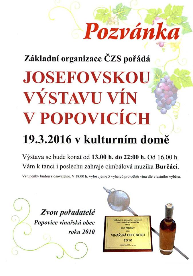 Josefofska vystava vin - Popovice